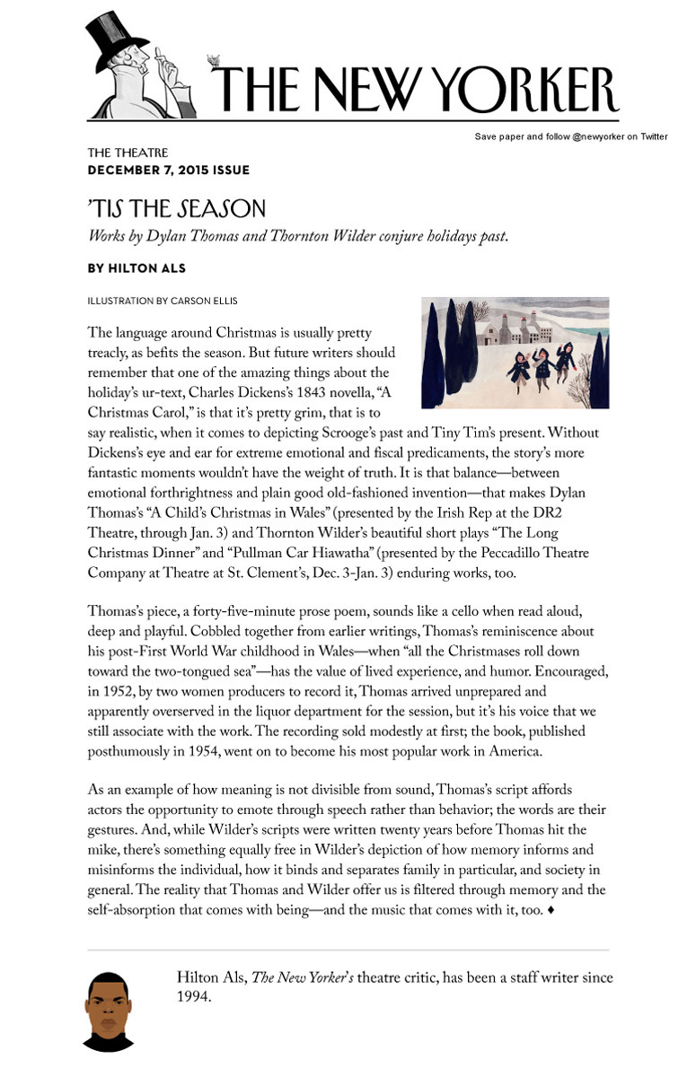 Feature Christmas with Thornton Wilder in The New Yorker about Peccadillo Theater